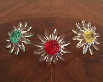 Swarovski Crystal Flower Figures- a Set of 3