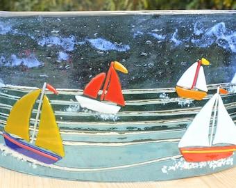 Sailing Boats, fused glass art