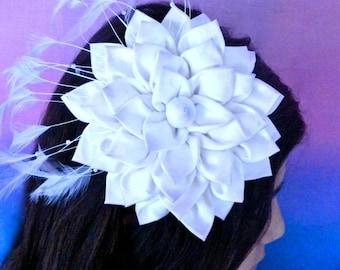 Fabric Flower Fascinator Brooch Pin Pattern La Todera kanzashi flower diy pdf pattern tutorial wedding headband embellishment flowers