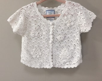 Vintage Baby Sweater, Infant Toddler White Cardigan Sweater, Open Weave Spring Sweater Short Sleeve Sweater Baby Girls Vintage Cardigan 2 2T