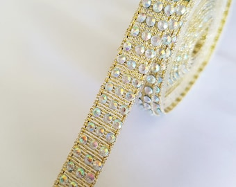 50 cm of Ribbon heat-sealed gold rhinestones