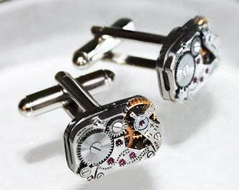 GIRARD PERREGAUX Steampunk Cufflinks - RARE Luxury Swiss Matching Silver Vintage Watch Movement Men Steampunk Cufflinks Cuff Links Men Gift