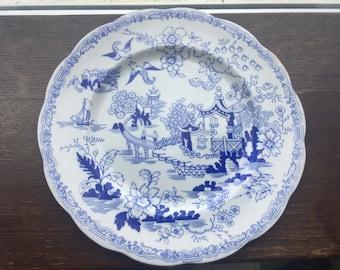 Royal Albert Plate Blue & White with gold rim - oriental scene