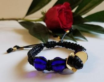 Dark blue faceted crystals bracelet