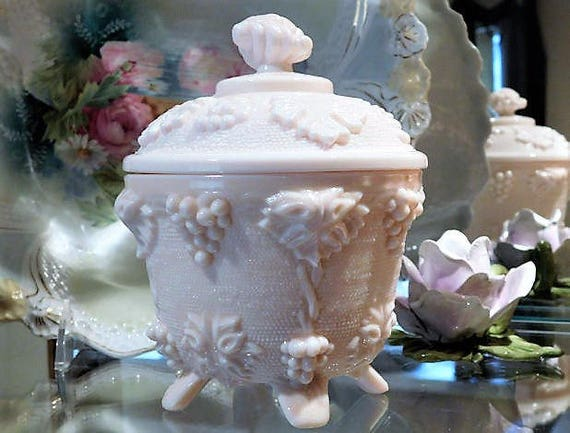 Pink Milk Glass Candy Dish / Mid Century /Grape Leaf Leaves Vine / Jeanette Glass