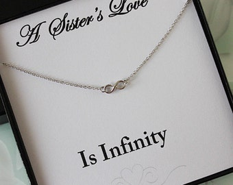 Silver infinity Necklace, Infinity Necklace, Silver Eternity Necklace for Sister