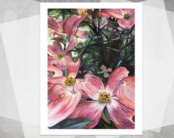 Pink Dogwoods Giclee Print - Realistic Watercolor Flowers, Watercolor Painting, Botanical Painting, Pink Flowers, Gift, Floral