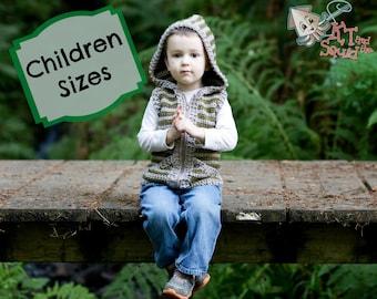 Crochet vest pattern, crochet hoodie, boys vest, girls vest, hooded vest for children, crochet, easy pattern, zipper or button