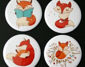 Cute Foxes Fridge Magnet Set of 4 fox woodland gift