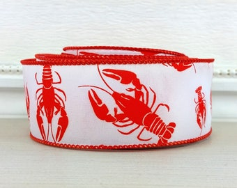 "Wired Ribbon, 1-1/2"" Red Crawfish on White Satin - TEN YARD ROLL -  ""Gumbo 2"" Summer, Americana, Louisiana Wire Edged Ribbon"