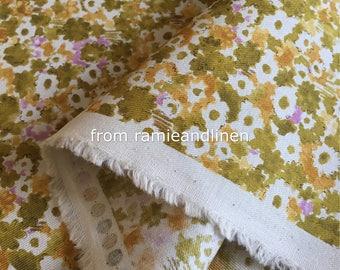 """Japanese floral print cotton twill fabric, half yard by 43"""""""