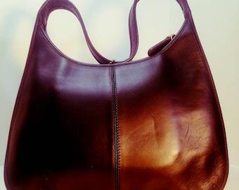 Vintage Black Leather Coach Bag.