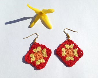 "Earrings ""granny square"" crocheted cotton"
