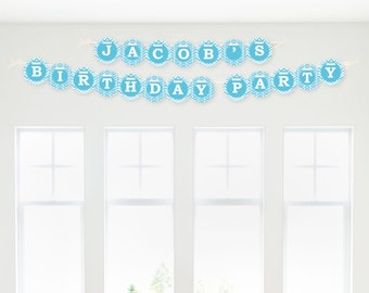 Chevron Blue Garland Banner - Custom Party Decorations for Baby Showers, Birthday Parties, Bridal Showers or everyday events