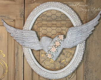 Angel wing wall decor, metal angel wings with heart, heart wall decor, valentine gift, Vintage wall decor, shabby chic angel wings