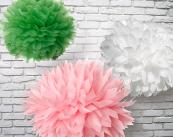 Tissue Paper Pom Poms - Set of 9 - Parties Decor//Receptions//Birthday's//Weddings
