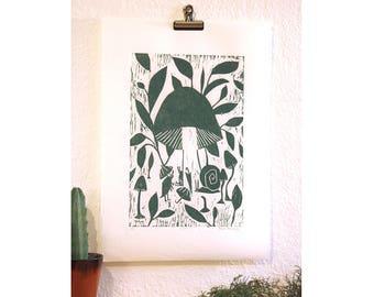 Rain protection, original woodcut print, A3, monochrome