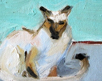 Siamese Cat aceo artist trading card miniature oil painting Delilah art