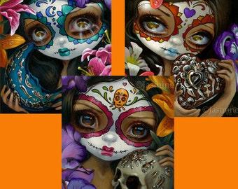 Milagros: Corazon, La Luna, and La Calavera - Set of THREE 8x10 art prints by Jasmine Becket-Griffith SIGNED day of the dead sugar skull