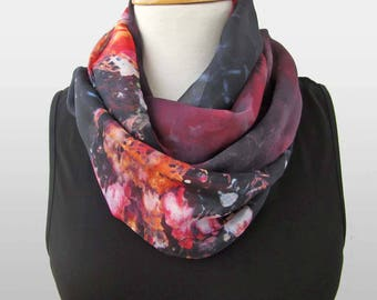 Red silk scarf - Red and black silk infinity scarves - Silk loop scarf