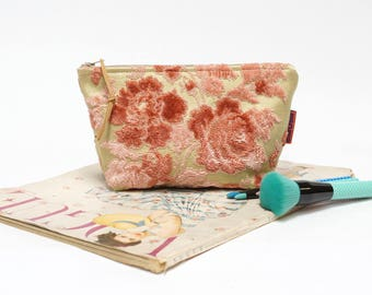 Pink Cut Velvet Cosmetic Bag, vintage fabric makeup bag, floral zipper pouch handmade by EllaOsix