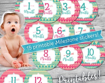 Monthly Baby Milestone Printables - TRIBAL GIRL - INSTANT Download!