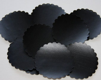 Set of 10 Chalkboard Tag Sticker Labels, Scalloped Circles 2""