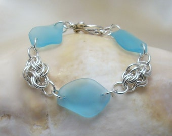Light Turquoise Sea Glass and  Argentium Cloud Chainmaille Bracelet