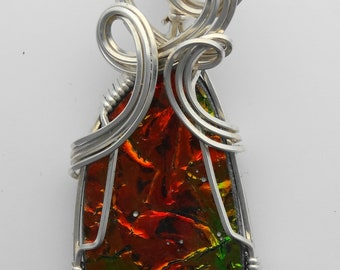 Orange, Green and Yellow Ammolite Wire Wrapped Pendant in Argentium Sterling Silver