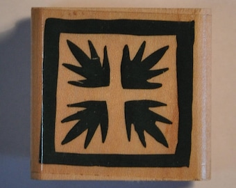 Rubber stamp mounted on wood - Nature - leaves