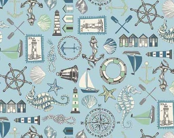 Pale Blue Seaside Fabric by Makower from their Beachcomber Collection, Blue Icons Cotton Fabric