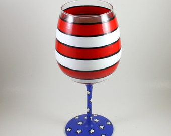 American Wine Glass, Stars and Stripes / Americana / Hand Painted Glassware