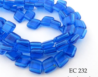 6mm 2 Hole Czech Glass Blue Angled Diamond Tile Bead (EC 232) 25 pcs BlueEchoBeads