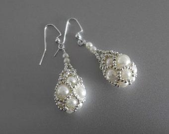 Wedding Pearl Earrings, Bridal Drop Earrings, Dangle Wedding Earrings,Faberge style Wedding Jewelry