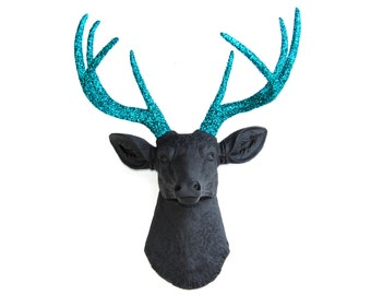 SPARKLE Black Deer Head with Teal Turquoise Glitter Antlers - Faux Taxidermy D1734