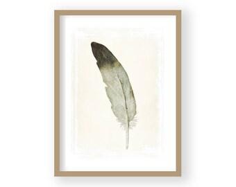 Feather Print, Feather Decor, Grey Feather,  Minimalist Decor, Black and White Art, Grey Wall Art, Nursery Decor, Romantic Decor