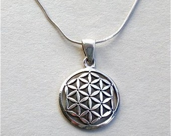 The Flower of Life Necklace, Sterling Silver Pendant and Chain
