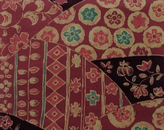 Vintage Japanese Silk Kimono Fabric Batique Kiredori