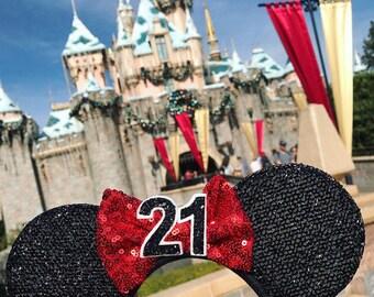 Disney Ear   Minnie Mouse Ear Headband    Red Sparkly Minnie Ears   21st Birthday   Minnie Mouse Party   Mickey Ears   Disney Ears   Disney