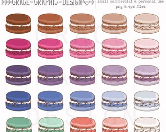French Macaron Clipart Set, Macaron Digital Illustration, Hand Illustrated Macaron Clipart, Small Commercial Use Clipart Set EPS