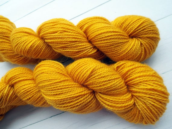 Hand Dyed Sock Yarn Superwash Wool Nylon 80/20 Fingering Weight Yarn Sock Yarn 50 Grams - Tonal Yellow Mustard Yarn - Mustard Sock Yarn
