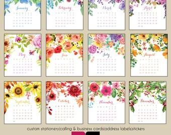 2018 Desk Calendar - Watercolor Florals with Clear Case