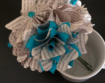 Individual Book Flowers (bundle of 5) you choose the color!