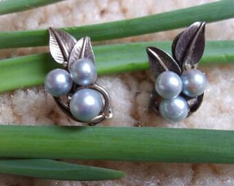 Ming's Sterling Silver Cultured Pearl Earrings, Vintage Ming's Honolulu