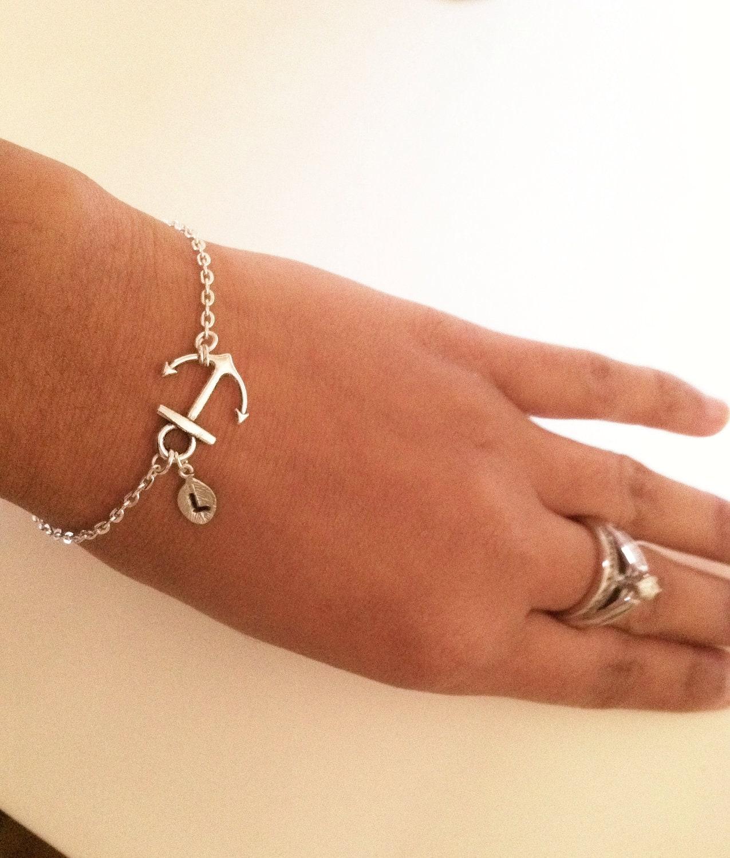 sale,Anchor bracelet,silver anchor bracelet,friendship gift,best friend gift,initial bracelet,initial leaf and anchor,personalized bracelet