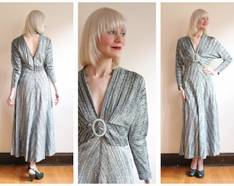 1970s Gown // Bianca Lurex Silver Gown // vintage 70s dress