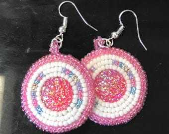 Pink & White Bead Embroidered Earrings Native American Free Shipping Available