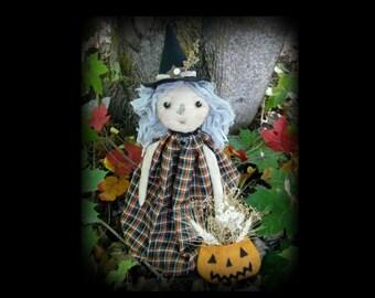 Prim Witch doll Halloween pattern Agatha - PDF primitive spooky pumpkin treat bag easy