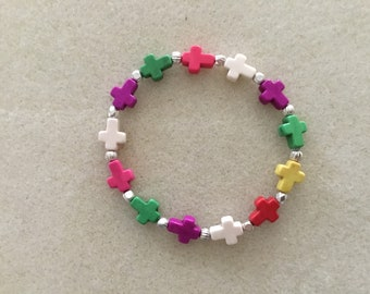 "Ladies or Girls 7 & 1/4"" Multicolored Crosses Bracelet."