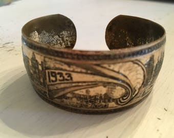 Vintage 1933 Commerative Chicago World's Fair Bracelet, Vintage Jewelry, Vintage Bracelet
